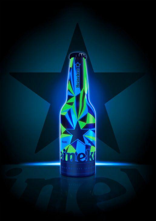 Packaging de bière fluorescent par Heineken