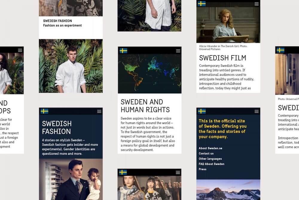 Utilisation de la typographie Sweden Sans sur les interfaces des sites suédois