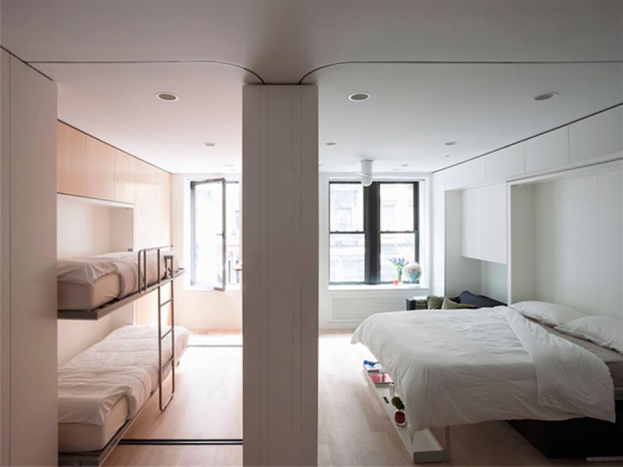Troisième configuration de cet appartement modulable : passage en chambre à coucher