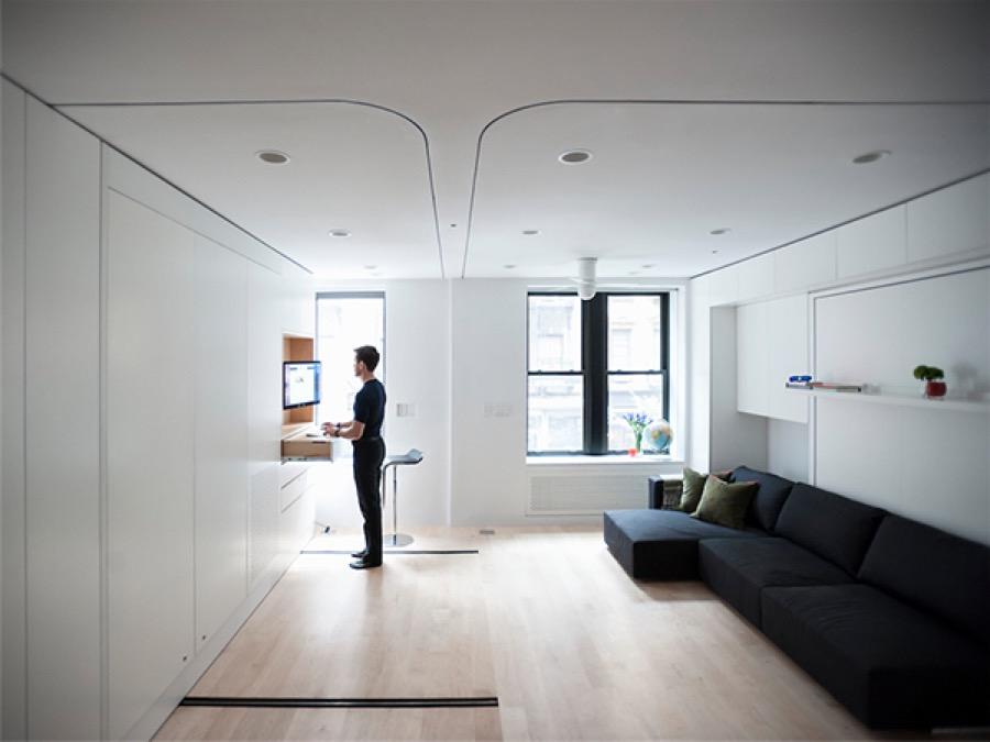 Seconde configuration de cet appartement modulable : travail et détente