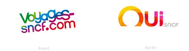 L'ancien logotype de Voyages SNCF et le nouveau logotype de Oui.sncf