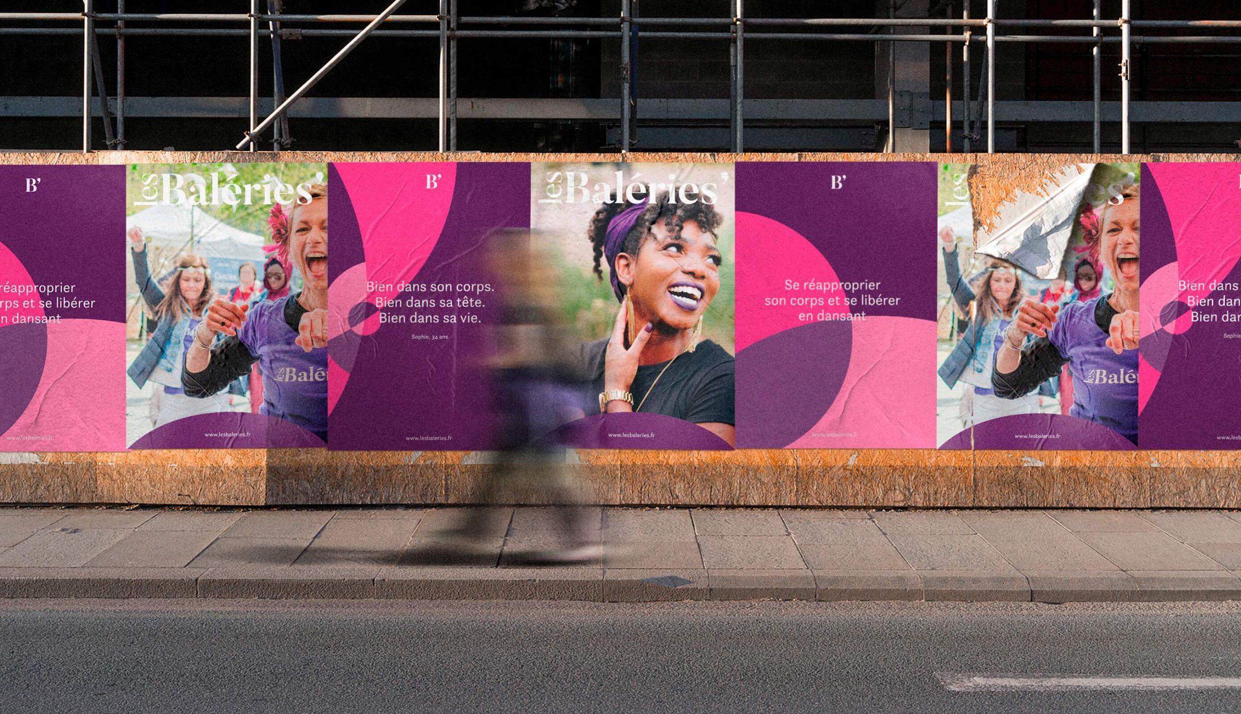 Affiches sauvages dans la rue pour presenter l'association Les Baleries de Valerie Jeuffroy