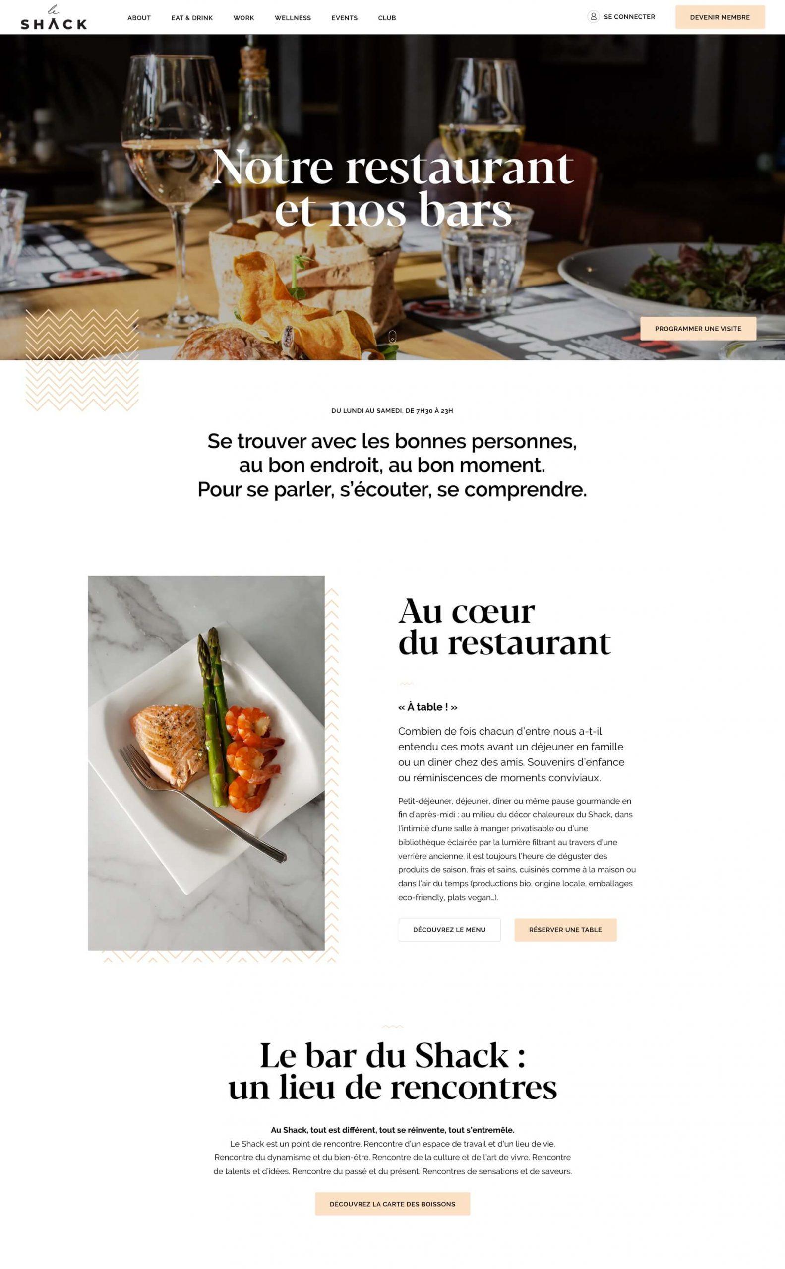 Page web du restaurant Le Shack Paris par Antoine Peltier - 1 sur 2