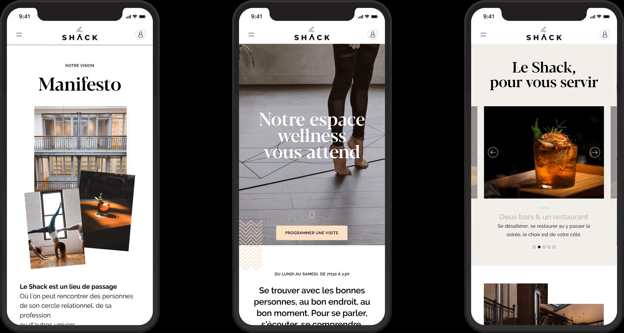 Version mobile du site web du Shack Paris par Antoine Peltier