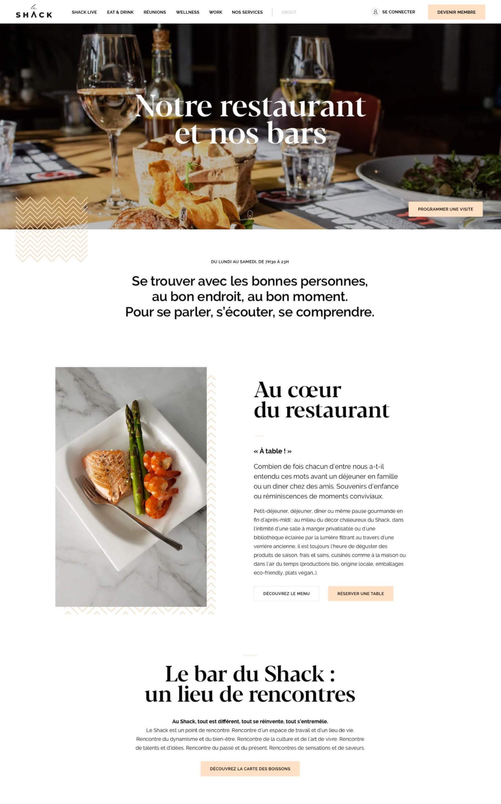 Page d'accueil du site web du restaurant Shack Paris