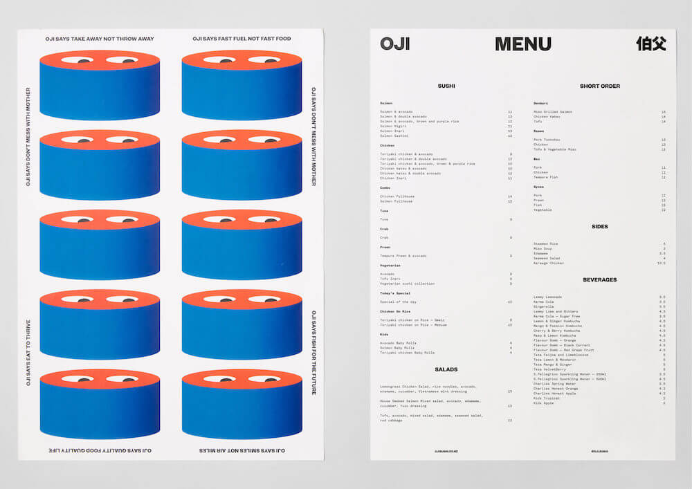 Le menu du restaurant Oji Sushi à Auckland