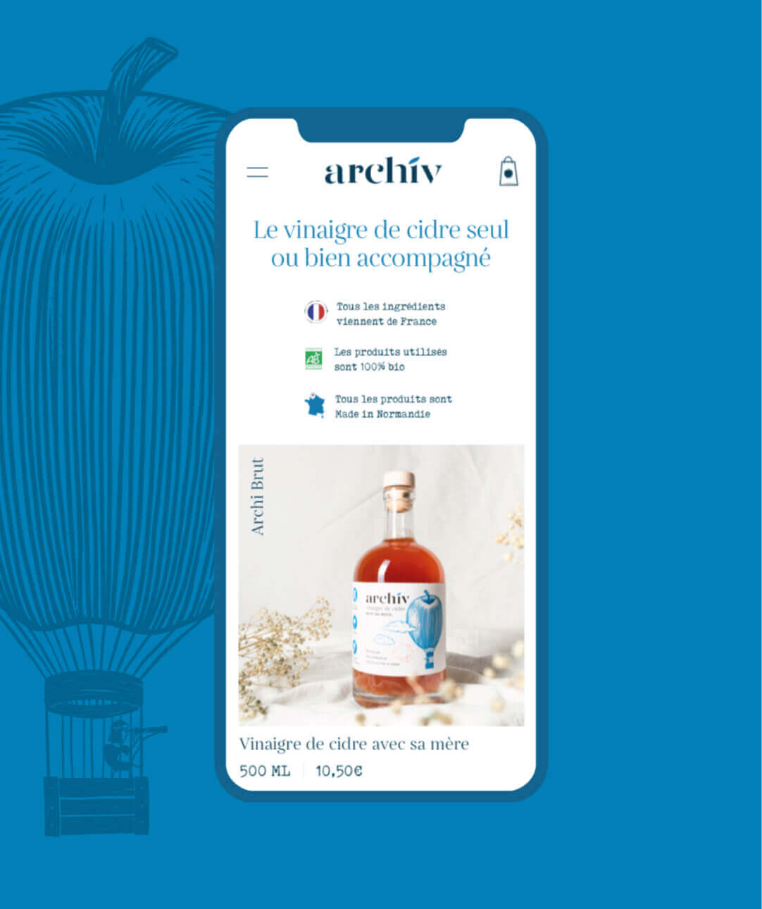 Version mobile du site ecommerce des vinaigres de cidre ArchiV