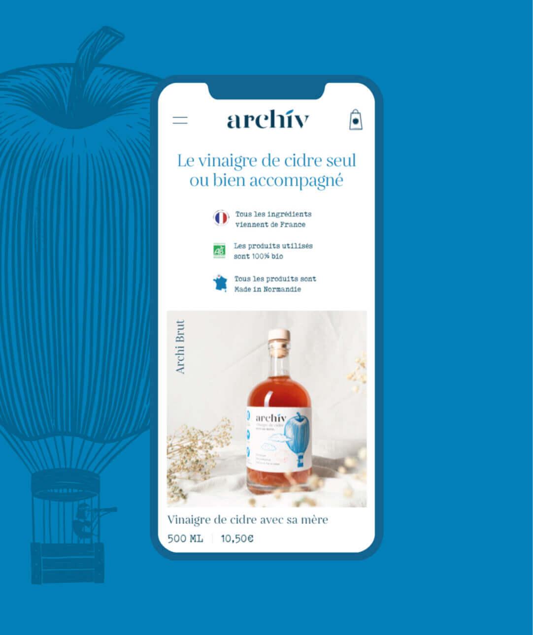 Version mobile du site ecommerce des vinaigres de cidre ArchiV