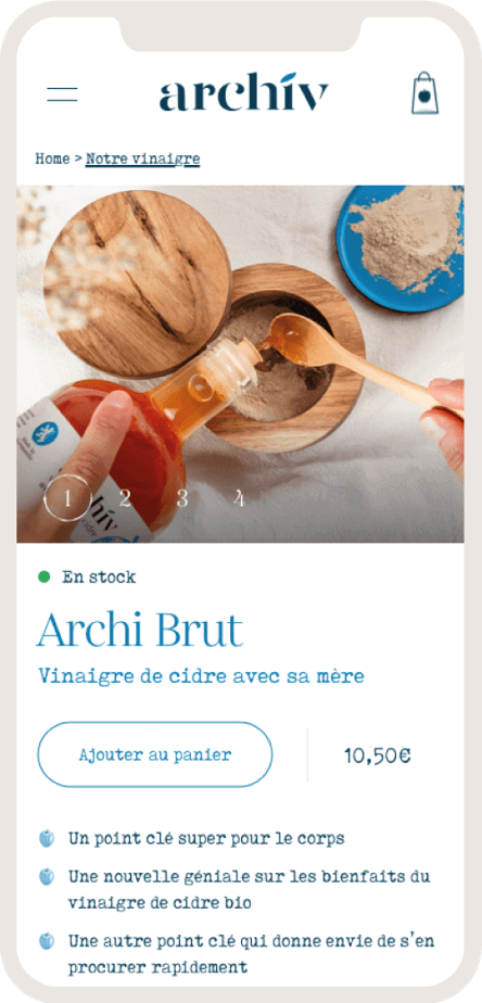 Version mobile du site ecommerce des vinaigres de cidre ArchiV - 3