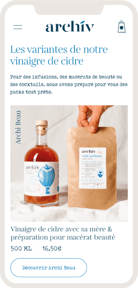 Version mobile du site ecommerce des vinaigres de cidre ArchiV - 2