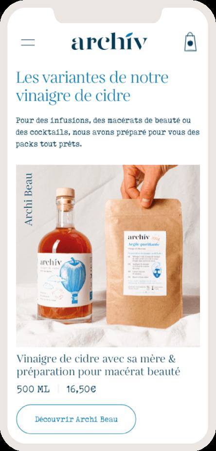 Version mobile du site ecommerce des vinaigres de cidre ArchiV - 2