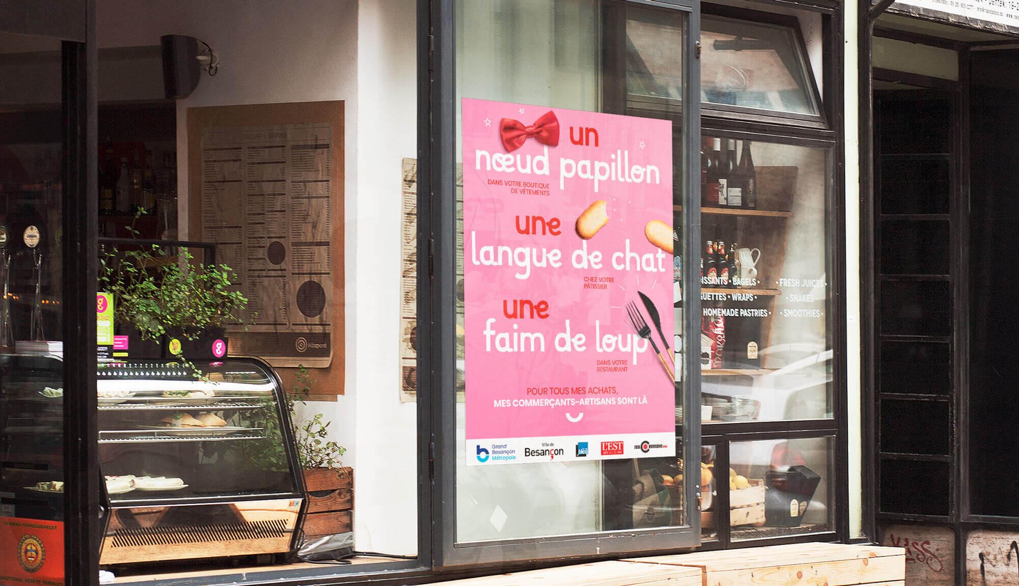 Campagne de communication pour sauver les commerces du Grand Besancon Metropole - Langue de chat
