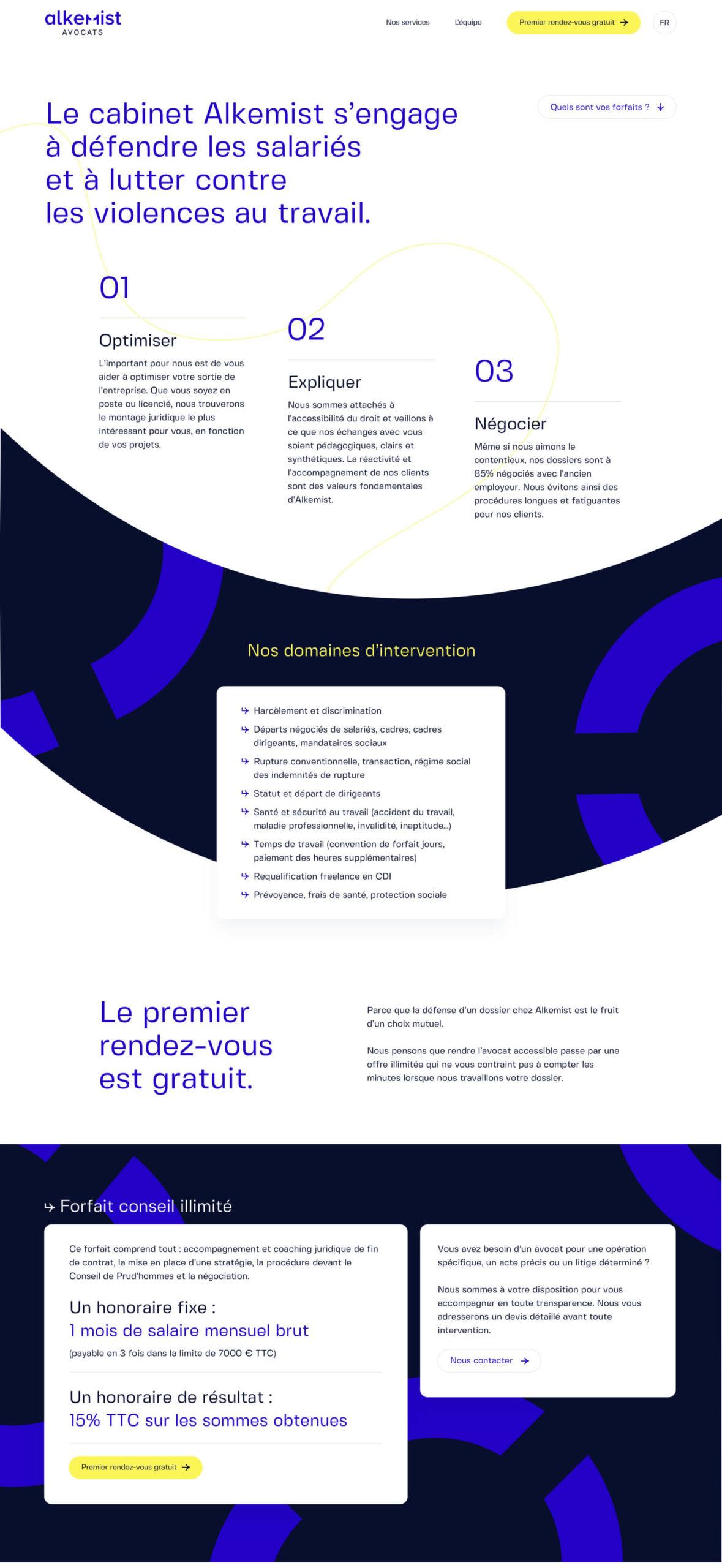Design page droit des salaries pour Alkemist Avocats - 01