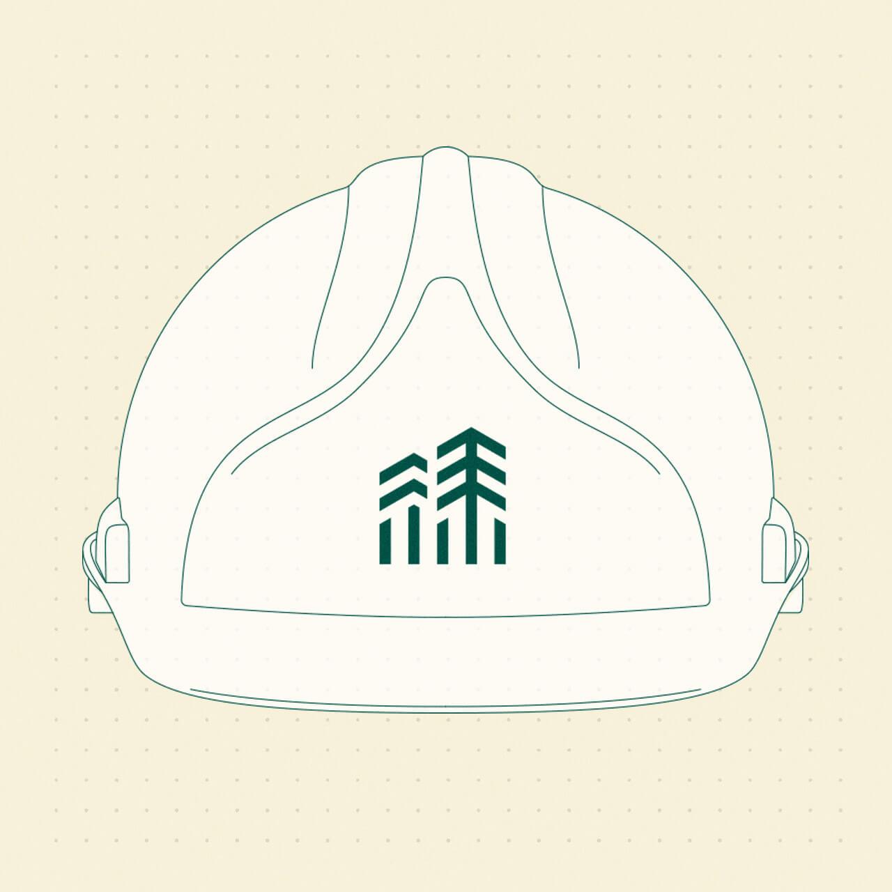 Casque de chantier avec le nouveau logo HB