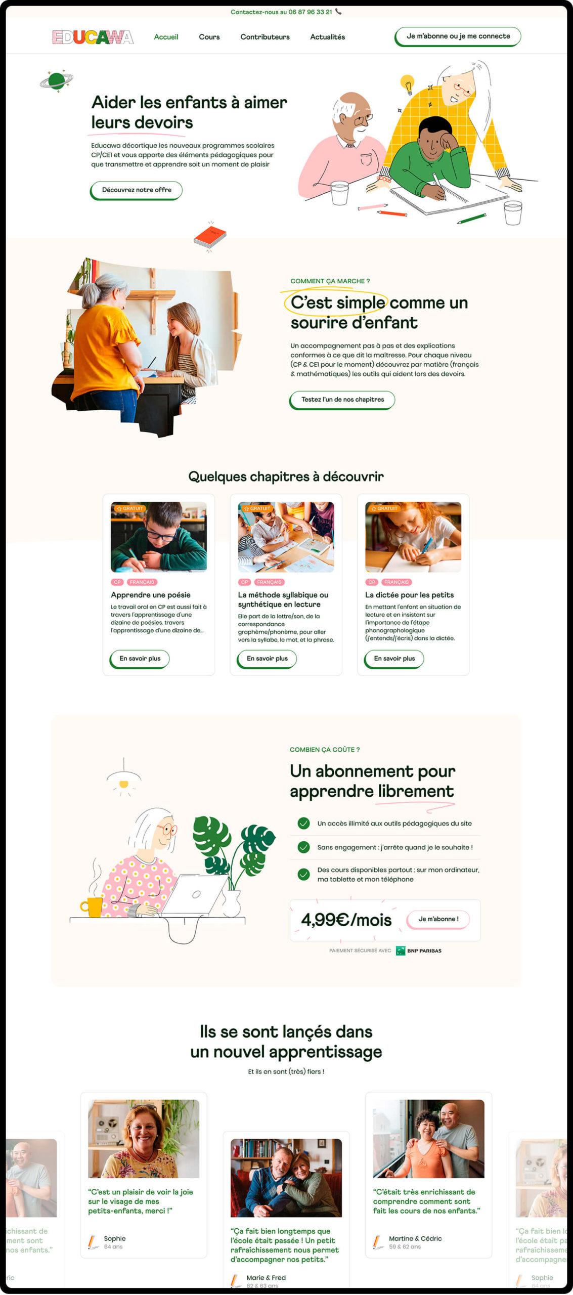 Webdesign ou Ui design de la plateforme Educawa