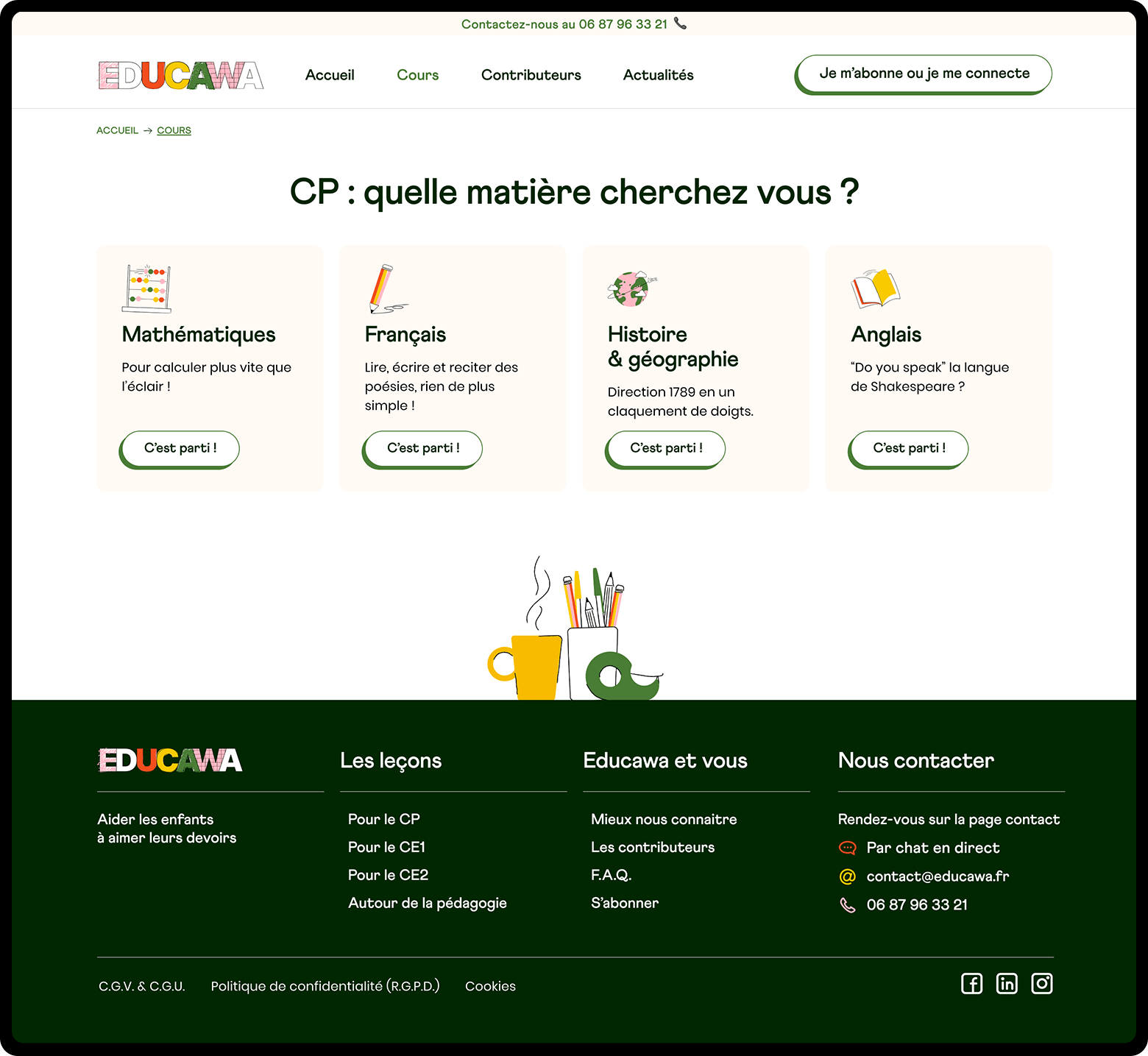 Page de choix des cours pour les enfants